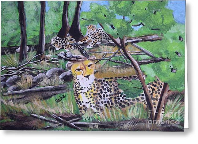 Female Bobcat Greeting Cards - Cheetah Greeting Card by Reba Baptist