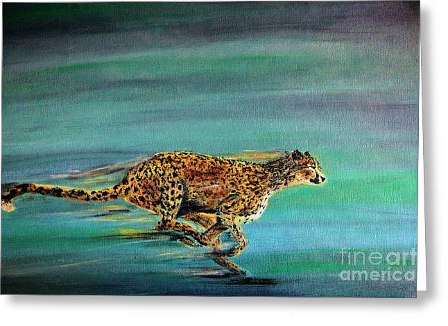 African Cat Greeting Cards - Cheetah Run Greeting Card by Nick Gustafson
