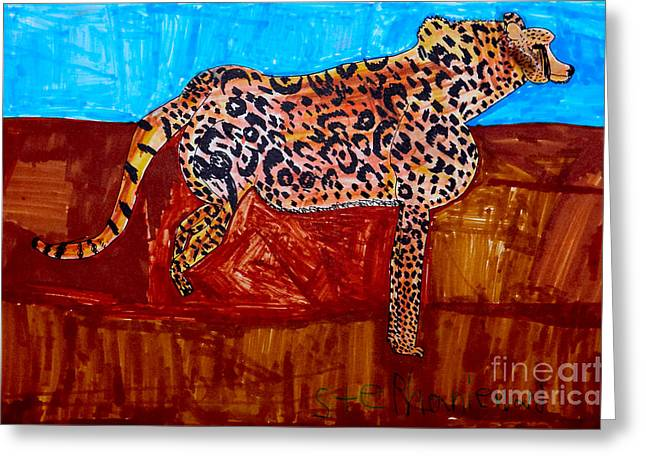 Sand Pattern Drawings Greeting Cards - Cheetah Greeting Card by Stephanie Ward