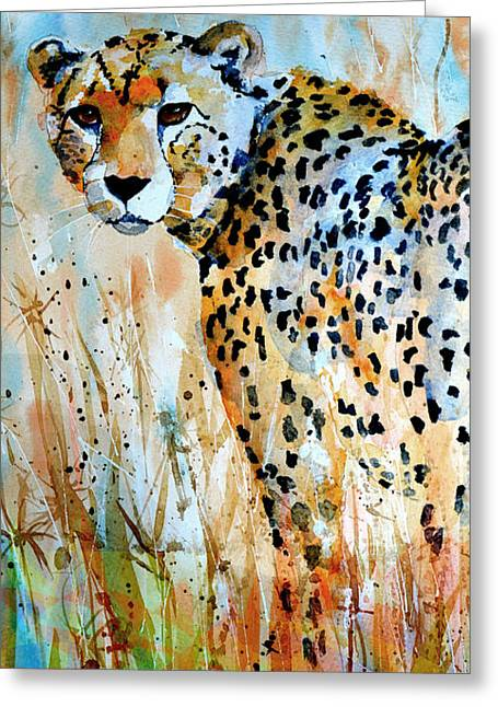 Recently Sold -  - Abstract Digital Paintings Greeting Cards - Cheetah Greeting Card by Steven Ponsford