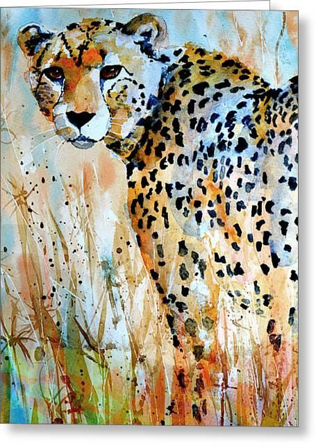 Floral Digital Art Paintings Greeting Cards - Cheetah Greeting Card by Steven Ponsford