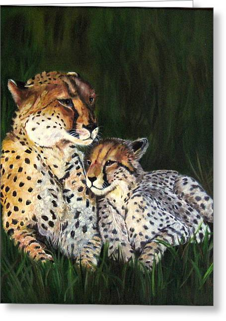 Lavonne Hand Greeting Cards - Cheetahs Greeting Card by LaVonne Hand