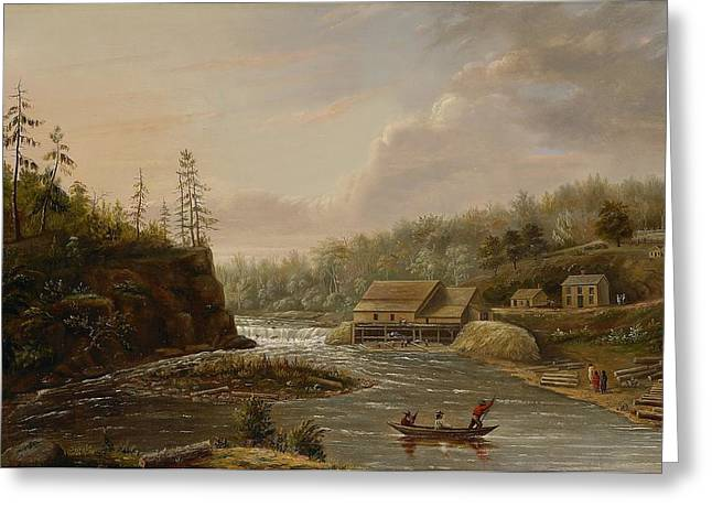 Croix Greeting Cards - Cheevers Mill on the St. Croix River Greeting Card by Henry Lewis
