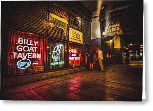 Saturday Night Greeting Cards - Cheezborger Cheezborger at Billy Goat Tavern Greeting Card by Sven Brogren