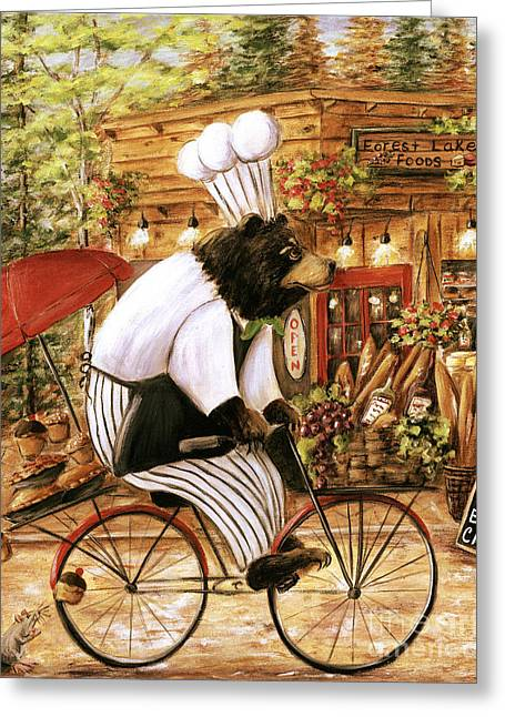 Recently Sold -  - Red Wine Prints Greeting Cards - Chef Bear-nard Greeting Card by Debbie Cerone