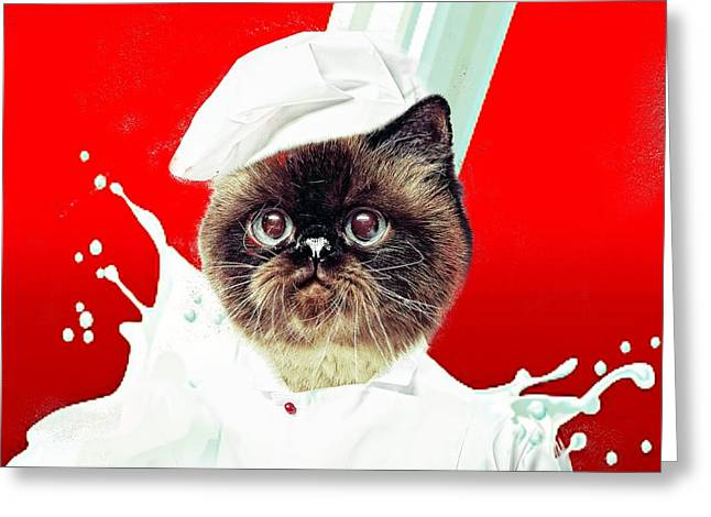 Pussy Mixed Media Greeting Cards - Chef Cat Greeting Card by M and L Creations