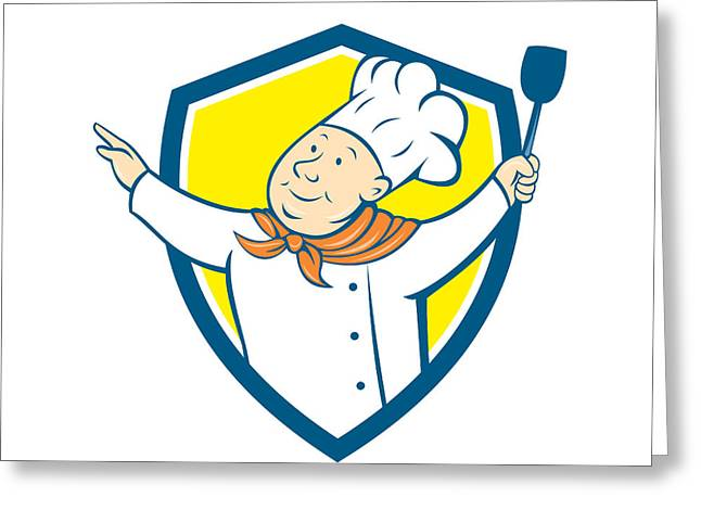 Looking Out Side Greeting Cards - Chef Cook Arm Out Spatula Shield Cartoon Greeting Card by Aloysius Patrimonio