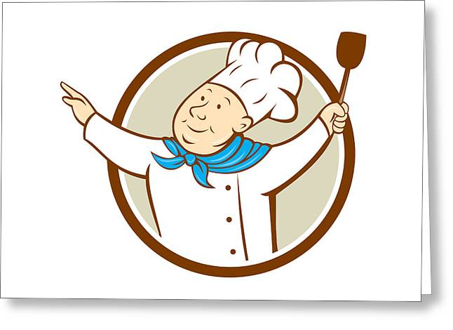 Looking Out Side Greeting Cards - Chef Cook Arms Out Spatula Circle Cartoon  Greeting Card by Aloysius Patrimonio