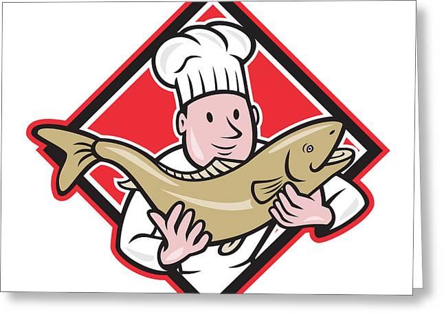 Chef Cook Handling Salmon Trout Fish Cartoon Greeting Card by Aloysius Patrimonio