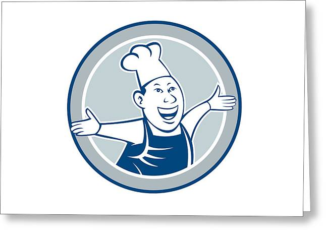 Chef Hat Greeting Cards - Chef Cook Happy Arms Out Circle Cartoon Greeting Card by Aloysius Patrimonio