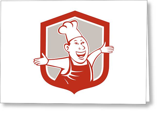 Chef Hat Greeting Cards - Chef Cook Happy Arms Out Shield Cartoon Greeting Card by Aloysius Patrimonio