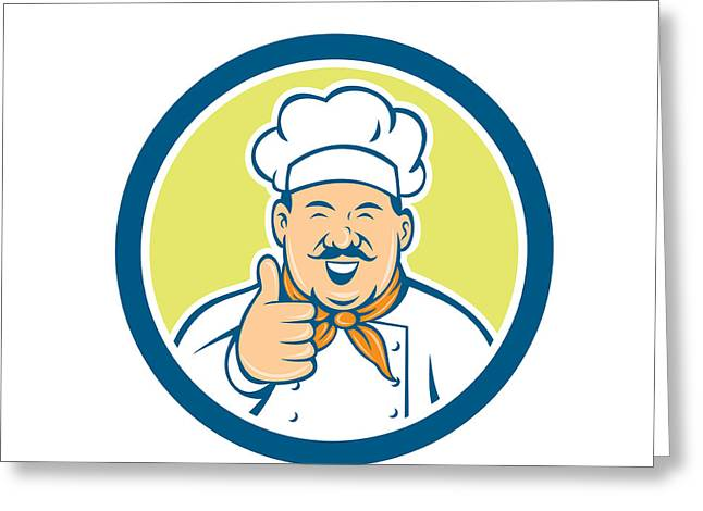 Chef Hat Greeting Cards - Chef Cook Happy Thumbs Up Circle Retro Greeting Card by Aloysius Patrimonio