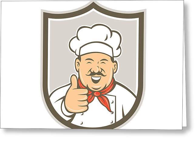 Chef Hat Greeting Cards - Chef Cook Happy Thumbs Up Shield Retro Greeting Card by Aloysius Patrimonio