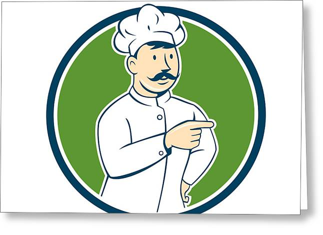 Mustache Greeting Cards - Chef Cook Mustache Pointing Circle Cartoon Greeting Card by Aloysius Patrimonio