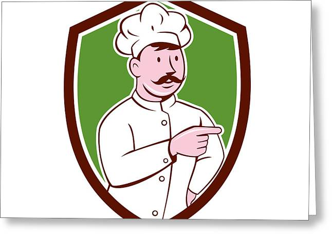 Mustache Greeting Cards - Chef Cook Mustache Pointing Shield Cartoon Greeting Card by Aloysius Patrimonio