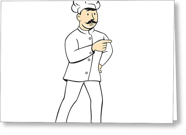 Mustache Greeting Cards - Chef Cook Mustache Standing Pointing Cartoon Greeting Card by Aloysius Patrimonio