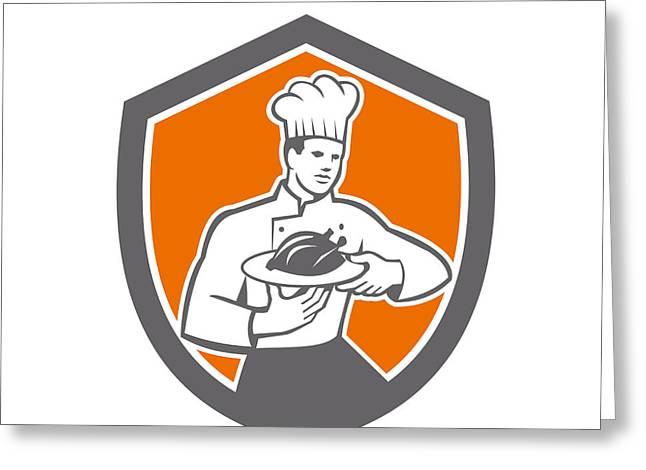 Serve Digital Art Greeting Cards - Chef Cook Serving Chicken Platter Shield Retro Greeting Card by Aloysius Patrimonio