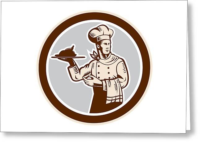 Serve Digital Art Greeting Cards - Chef Cook Serving Food Platter Circle Retro Greeting Card by Aloysius Patrimonio