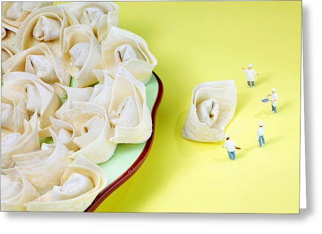 Creative People Greeting Cards - Chef discussing wonton recipe Greeting Card by Paul Ge
