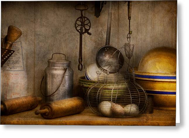 Chef - Ingredients - Breakfast and grandpa's Greeting Card by Mike Savad