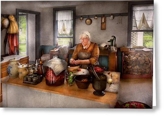 Chef - Kitchen - Cleaning Cherries  Greeting Card by Mike Savad
