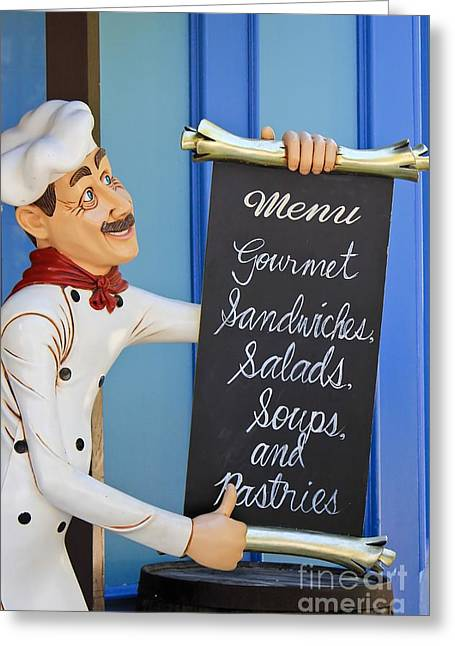 Menu Greeting Cards - Chef Menu Greeting Card by Sophie Vigneault