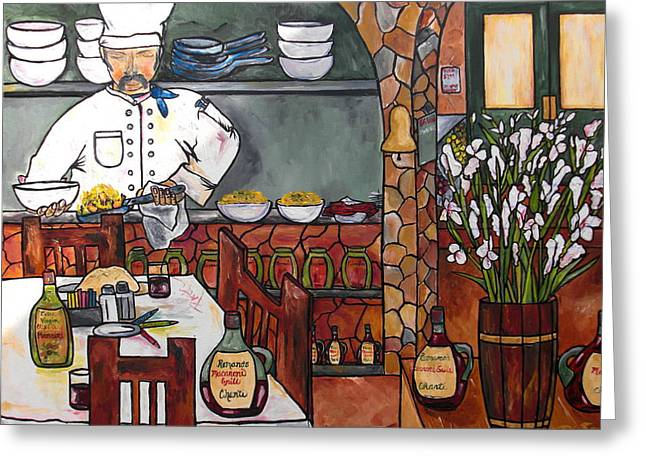 Italian Restaurant Greeting Cards - Chef on line Greeting Card by Patti Schermerhorn