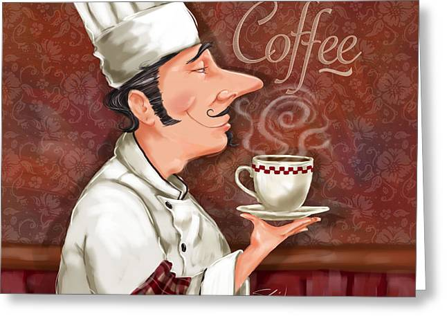 Dine Mixed Media Greeting Cards - Chef Smell the Coffee Greeting Card by Shari Warren