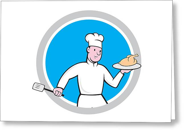Chef Hat Greeting Cards - Chef With Chicken Spatula Circle Cartoon Greeting Card by Aloysius Patrimonio