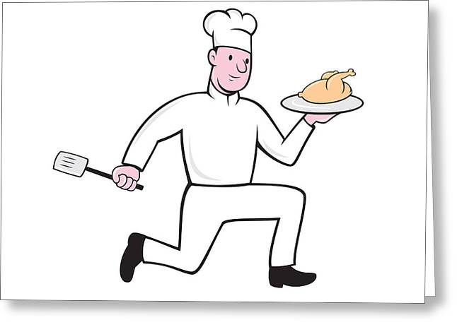 Chef Hat Greeting Cards - Chef With Chicken Spatula Running Cartoon Greeting Card by Aloysius Patrimonio