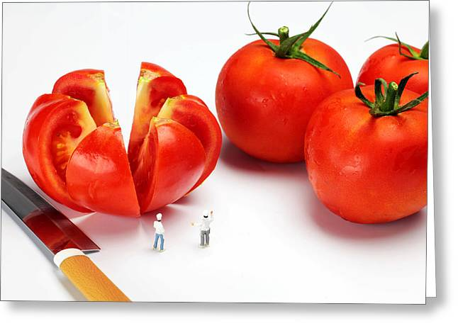 Fantasy World Greeting Cards - Chefs chopping tomatoes little people big worlds Greeting Card by Paul Ge