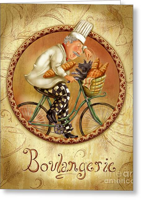 Wine Grapes Mixed Media Greeting Cards - Chefs on Bikes-Boulangerie Greeting Card by Shari Warren