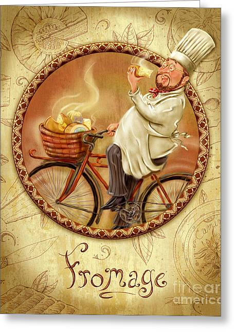 Italian Wine Greeting Cards - Chefs on Bikes-Fromage Greeting Card by Shari Warren