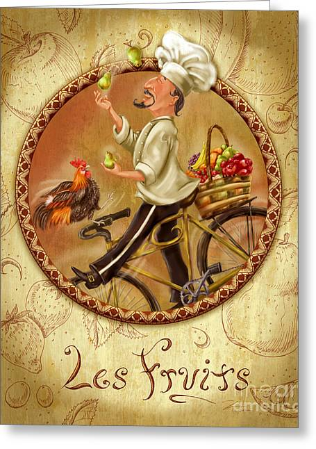 Wine Grapes Mixed Media Greeting Cards - Chefs on Bikes-Les Fruits Greeting Card by Shari Warren