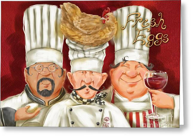 Dine Mixed Media Greeting Cards - Chefs with Fresh Eggs Greeting Card by Shari Warren