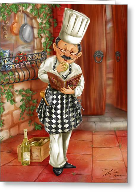 Italian Wine Greeting Cards - Chefs with Wine II Greeting Card by Shari Warren