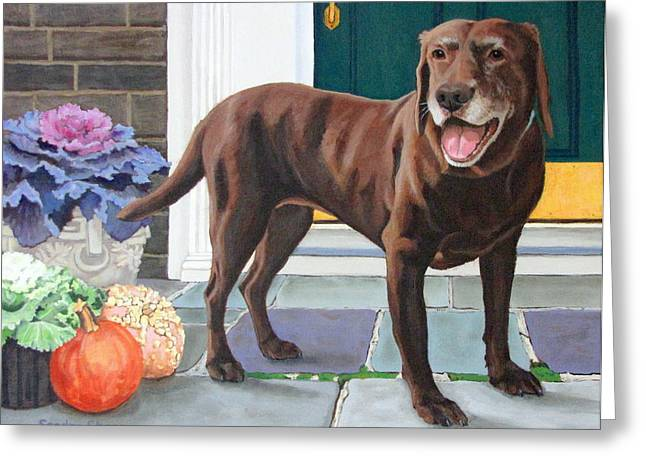 Sandra Chase Paintings Greeting Cards - Chelsea at the Door Greeting Card by Sandra Chase