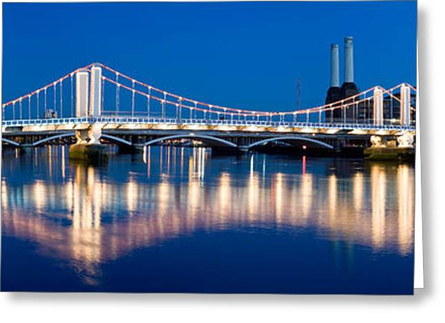 Chelsea Photographs Greeting Cards - Chelsea Bridge With Battersea Power Greeting Card by Panoramic Images