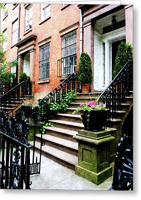 New York Ny Greeting Cards - Chelsea Brownstone Greeting Card by Susan Savad
