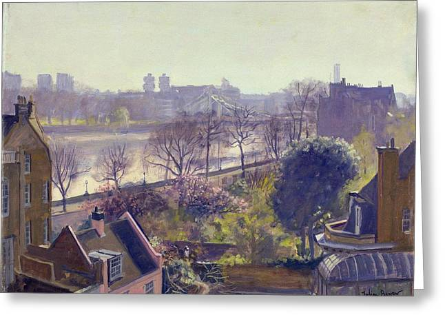 Vernacular Architecture Greeting Cards - Chelsea Embankment From The Physic Garden Oil On Canvas Greeting Card by Julian Barrow