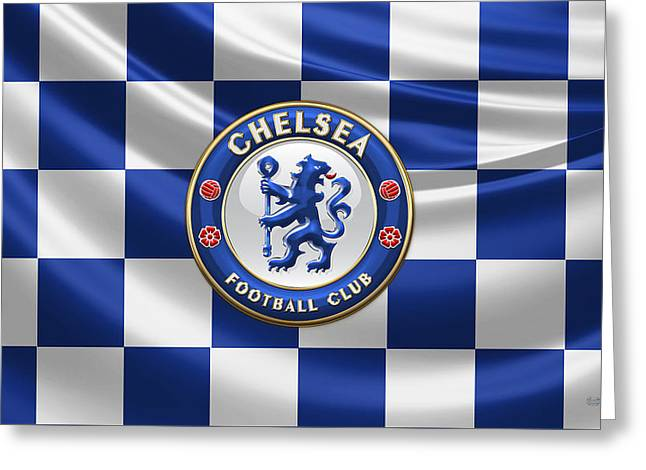 Coa Greeting Cards - Chelsea FC - 3D Badge over Flag Greeting Card by Serge Averbukh