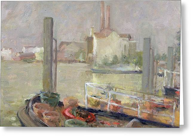 River Scenes Photographs Greeting Cards - Chelsea Reach, 1996 Greeting Card by Karen Armitage