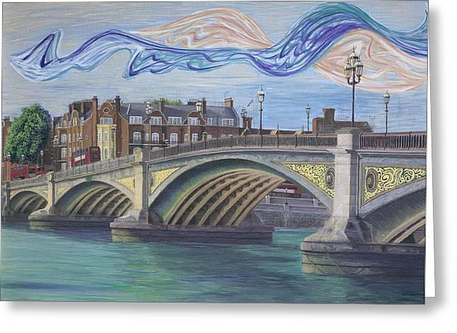 Battersea Bridge Greeting Card by Nikola Golomeev