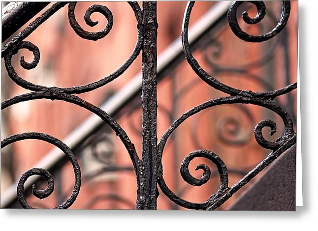 Ironwork Greeting Cards - Chelsea Wrought Iron Abstract Greeting Card by Rona Black