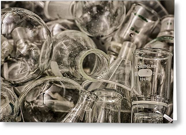 Experiment Greeting Cards - ChemGlass Greeting Card by Scott  Wyatt