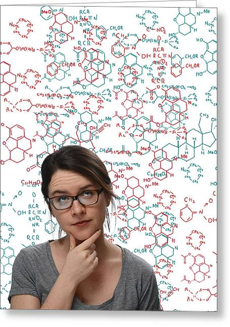 Thinking Person Greeting Cards - Chemical Formulas Greeting Card by Monica Schroeder