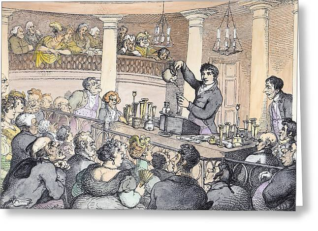 Lecturing Greeting Cards - Chemical Lectures, C.1809 Engraving Later Colouration Greeting Card by Thomas Rowlandson