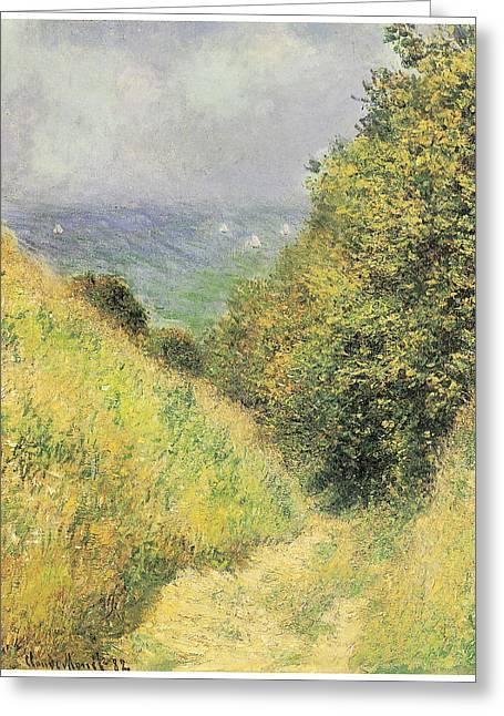 Pourville Greeting Cards - Chemin de la Cavee at Pourville Greeting Card by Claude Monet