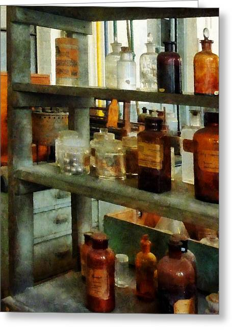 Lab Greeting Cards - Chemist - Bottles of Chemicals Tall and Short Greeting Card by Susan Savad