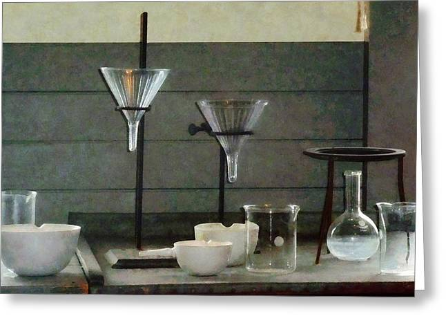 Pestle Greeting Cards - Chemist - Funnels Flasks and Crucibles Greeting Card by Susan Savad